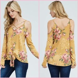 Tops - Yellow floral criss cross cold shoulder top